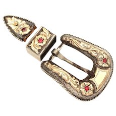 Holland's 105 Belt Buckle Set - Sterling, 14k Gold, Ruby - Ranger Set, Hollands San Angelo, Texas