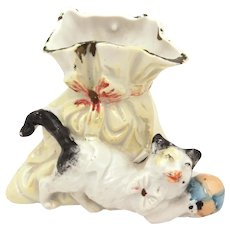 Antique German Cat Vase, Porcelain Luster, Kitten with Ball Figurine