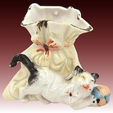 Antique German Cat Vase, Porcelain Luster, Kitten with Ball Figurine