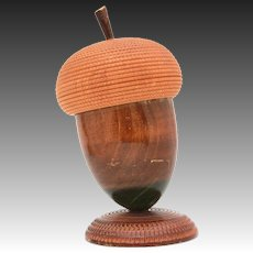 Large Carved Wood Acorn Box from Spain