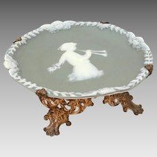 Jasperware Cameo Dish Woman Plating Flutes & Winged Cherubs on Gilded Brass Feet, Footed Dish