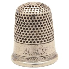 Antique Sterling Sewing Thimble with Hand Engraved Monogram