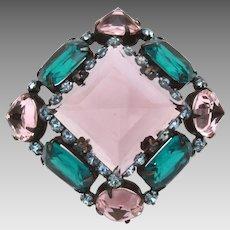 Signed Schreiner New York Emerald & Amethyst Glass Japanned Pin Open Back Stones Set Upside Down