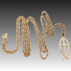 """14k Christian Icthus Fish & Cross Pendant Signed Theda on 24.25"""" Gold Filled Chain"""