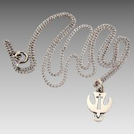 Sterling Dove & Cross Necklace, Small Christian Holy Spirit Descending Dove with Halo Pendant