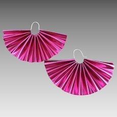 """Anodized Aluminum Purple Fan Shape Earrings, Sterling Ear Wires, Big 3.6"""" 1980s Pierced Earrings"""