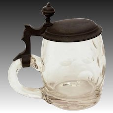 Antique Glass & Pewter Beer Stein, 1/4 Liter Tankard with Hinged Lid, Glass Thumbprint Design