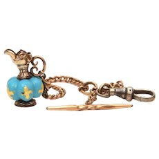 Antique Pocket Watch Fob, Miniature Victorian Ewer, Blue Glass Bead with Gold Fleur de Lis Pitcher
