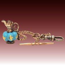 Antique Pocket Watch Fob, Miniature Victorian Ewer, Blue Glass Bead with Gold Fleur de Lis Pitcher