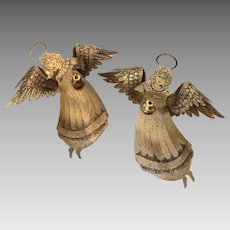 Vintage Brass Angel Christmas Ornaments