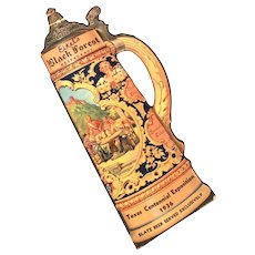 "Blatz Beer 1936 Texas Centennial Large 13"" Beer Stein, Tankard Shape Advertising Card - Die Cut with Drinking Songs & O Tannenbaum"