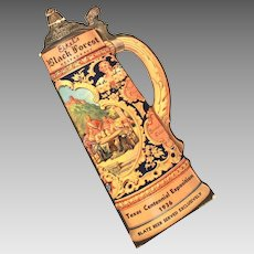 "Blatz Beer 1936 Texas Centennial Large 13"" Beer Stein, Tankard Shape Advertising Card - Die Cut with Drinking Songs & O Tannenbaum"
