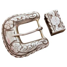 Pre-Eagle Mexican Sterling Buckle Ranger Set Plamex, Western Belt Buckle & Keeper