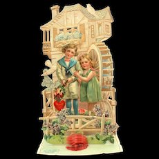Antique Valentine Germany, Folding Pop Up Card with Water Mill, German Chromolithograph