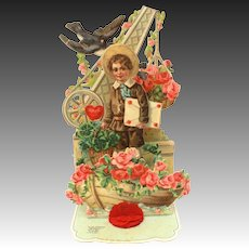 German Folding Valentine Card, Germany Chromolithograph, Boy in Boat with Roses & Clovers