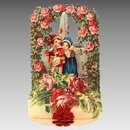 Antique Germany Folding Valentine Card with Red Roses & Heart Fountain & Tissue Paper Honeycomb
