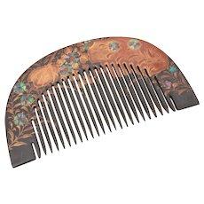 Antique Japanese Geisha Kanzashi Kushi Hair Comb, Black Lacquer & Raden Abalone Shell Inlay