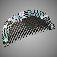 Antique Japanese Geisha Hair Comb, Lacquer Raden Kanzashi Kushi, Detailed Shell Inlay