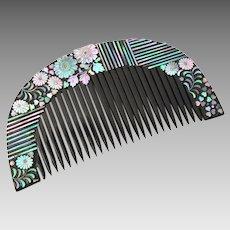 Antique Japanese Geisha Hair Comb, Lacquer Raden Kanzashi Kushi, Detailed Shell Inlay
