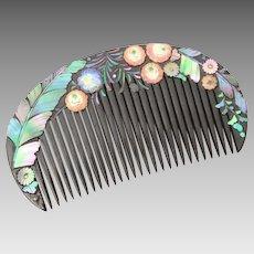 Antique Japanese Hair Comb Lacquer, Enamel Flowers, Abalone Shell - Geisha Kanzashi Kushi