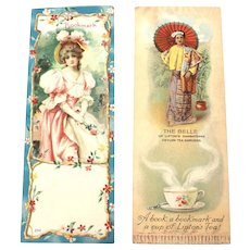 2 Bookmarks Lithograph Prints, Lipton Tea Advertising Premium, 1904 Worlds fair