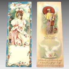 2 Bookmarks Lithograph Prints, Lipton Tea Advertising Premium, 1904 Worlds fair
