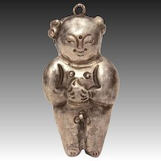 Antique Chinese Naked Boy Pendant, Export Silver