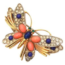 Jomaz Butterfly Pin with Faux Coral and Lapis Cabochons
