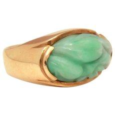 14k Gold Carved Jade Ring, Size 7 Jadeite
