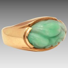 14k Gold Carved Jade Ring, Size 7 Jadeite