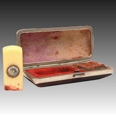Chinese Wax Seal with Compass, Miniature Celluloid in Leather Box