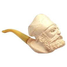 Carved Meerschaum Turk's Head Pipe in Fitted Case