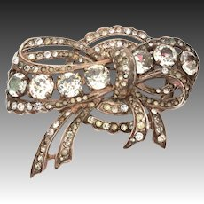Sterling Eisenberg Rhinestone Pin, Large Heavy Signed Brooch