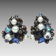 Eugene Cluster Earrings Blue Crystal Beads, Sapphire Blue Pear Shaped Rhinestones