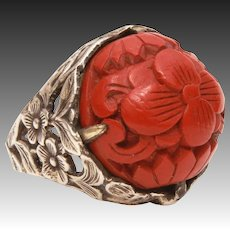 Chinese Export Silver & Carved Cinnabar Ring, Floral Adjustable Band