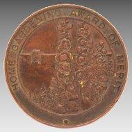 Bronze Home Gardening Award, Bronze Medal by Vaughton with Hollyhocks & Foxgloves