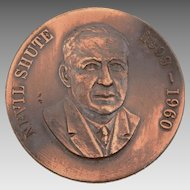 Nevil Shute 1899-1960 Bronze Medal, English-Australian Novelist Author & Aeronautical Engineer