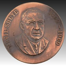 Nevil Shute 1899-1960 Bronze Medal, English-Australian Novelist Author & Aeronautical Engineer