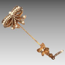Unsigned Miriam Haskell Stickpin with Beaded Bow, Stick Pin