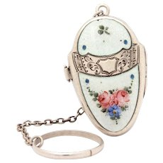 Sterling Enamel Compact with Finger Ring, Dance Purse, Easter Egg Locket