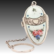 Sterling Enamel Compact with Finger Ring, Dance Purse, Easter Egg Locket