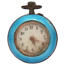 Antique 800 Silver Blue Enamel Ladies Pocket Watch Pendant, Not Running - Red Tag Sale Item