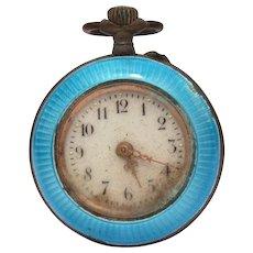 Antique 800 Silver Blue Enamel Ladies Pocket Watch Pendant, Not Running
