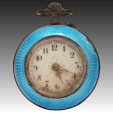 Antique 800 Silver Blue Enamel Ladies Pocket Watch Pendant, Not Running