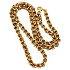 "Antique 14k Gold Victorian Chain Necklace with Double Concave Links, 16.8"" Long"