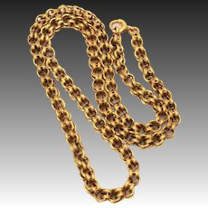 """Antique 14k Gold Victorian Chain Necklace with Double Concave Links, 16.8"""" Long"""