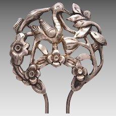 Antique Chinese Hair Comb with Bird in Flowers, Export Silver