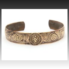 1936 Texas Centennial Childs Brass Cuff Bracelet with Expo Seal