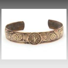 1936 Texas Centennial Childs Brass Cuff Bracelet with Expo Seal