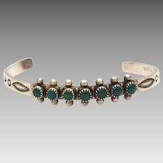 Fred Harvey Era Child Size Sterling Green Turquoise Navajo Cuff Bracelet, Very Small
